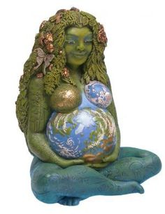 Gaia, Goddess Mother of Earth and all that crawls, walks, slithers and swims upon it. Lovely garden ornament.