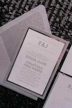 AARON Suite Fancy Glitter Package, silver on silver glitter, fancy glitter wedding invitations