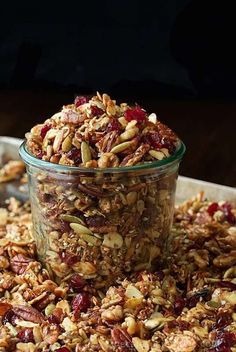 This Paleo Granola is loaded with healthy nuts and seeds. It's also crazy delicious and you won't believe how easy it is to throw together!