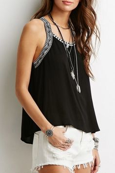 Casual Embroidery Decoration Loose Fit Tank Top