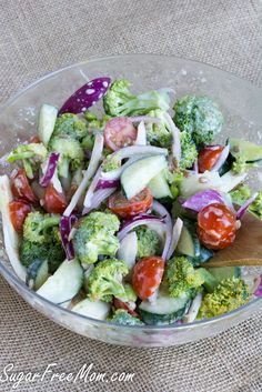 Mayo Free Sugar Free Broccoli Salad/ sugarfreemom.com