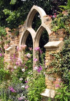 Gothic Triple Arch Window by Redwood Stone. For the garden folly.