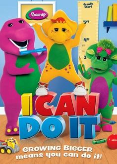 This spectacular Barney I Can Do It DVD encourages children to try new activities like tying shoes and cleaning the room. Through stimulating songs and amazing dances, Barney inspires young minds toward confidence and optimism. Pk Songs, Friends Poster, Barney & Friends, Autism Activities, Pbs Kids, Movie Gifs, Movie Releases, I Can Do It, Disney Drawings