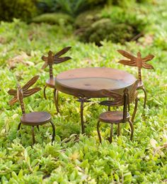 Fairy Garden Dragonfly Table and Four Chairs