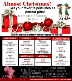 CHRISTMAS GIFTS OF NOTE!!30 ml international fragrance spray perfumes. Oil based. Men and women's fragrances available.Complete list available with over 380 international fragrances.Coloured glass bottles with spray pump and cap.Non branded with fragrance name on bottle.Minimum order of 50 units.Excludes delivery.Distribution Accross Africa
