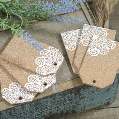 Rustic Natural Cork and Lace Tags – Holiday Craft Supplies – Christmas and Winter – Holiday Crafts - Handmade Doilies Crafts, Paper Doilies, Burlap Crafts, Paper Crafts, Christmas Gift Tags, Christmas Tags Handmade, Christmas Wrapping, Christmas Christmas, Christmas Ideas