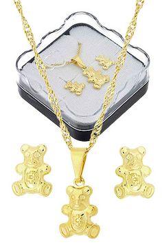 Conjunto folheado a ouro c/ corrente, brincos e pingente em forma de ursinhos (acompanha caixinha)