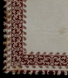 Bed cover @ the V, made in Cypres 17C-18C  Linen embroidered with silk