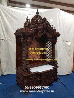 Wooden Temple For Home, Home Temple, Ahmedabad, Mandir Design, Pooja Mandir, Pooja Room Door Design, Temple Design, Durga Maa, Pooja Rooms