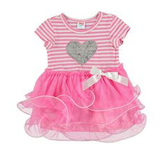 heart print party dress pink size: 3-24 months