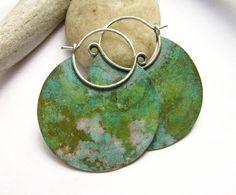 Large Verdigris Hoop Earrings Bronze And Sterling Silver Metalwork Jewelry