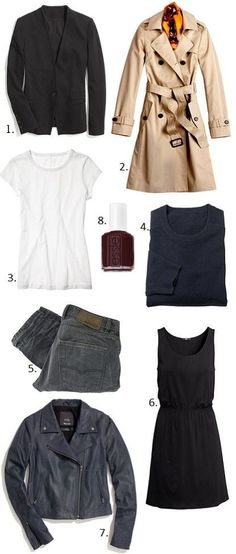 MINIMAL + CLASSIC: packing list. 1 coat, 2 jackets, 1 tee, 1 sweater, 1 dress, 1 pair of jeans