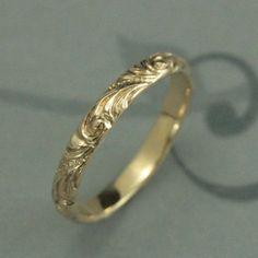 Yellow Gold Wedding Band--Florence--Women's Gold Wedding Ring--Vintage Style Wedding Ring--Swirl Patterned Band--Elegant Anniversary Ring #weddingringsvintage