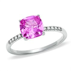 Zales 7.0mm Trillion-Cut Lab-Created Ruby and Diamond Accent Ring in Sterling Silver nLIGZaN