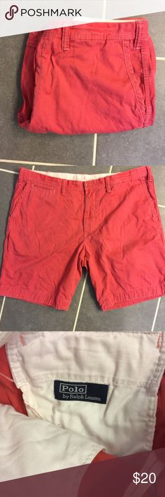Polo By Ralph Lauren Men's Red Shorts Good conduction. Has a hidden drawstring on the inside of the waist. Never put in dryer. Smoke free home. No trades. Size 40W Polo by Ralph Lauren Shorts