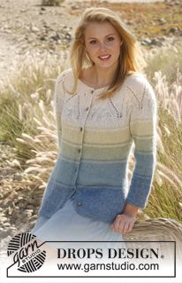 "Blue lagoon sweater - Knitted DROPS jumper with stripes, round yoke and ¾ sleeves in ""BabyAlpaca Silk"" and ""Kid-Silk"". Size: S - XXXL. - Free pattern by DROPS Design"