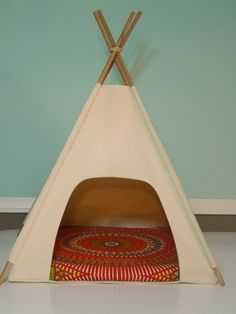 OMG! Molly needs this! Dog Teepee / Cat Teepee - Modern Pet Bed - Natural Canvas with Medallion Pillow - Red,Yellow,Green,Blue- Vintage Kandy Tenthouse Suites