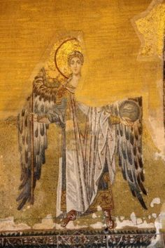 Picture of Ancient mosaic of an angel. Hagia Sophia Mosque, Istanbul stock photo, images and stock photography. Byzantine Icons, Byzantine Art, Hagia Sophia, Religious Icons, Religious Art, Sainte Sophie Istanbul, Spiritus, Angels Among Us, Orthodox Icons