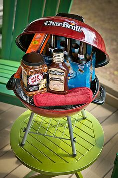Love this mini grill Father's Day gift. Fill it with all his favorite snack and grilling gadgets!
