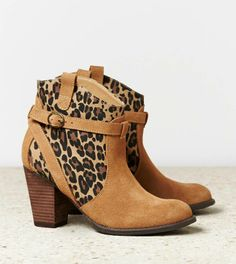 Leopard Suede chunky ankle boots