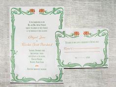 Art Nouveau Printable Wedding Invitation and Reply par OddDuckPress