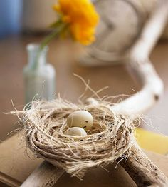 Twine Nest. Soak twine in a mixture of glue and about 2 tablespoons each of flour and water. Form the nest by coiling and shaping wet twine into a smaller, plastic-lined bowl. To create a layer of frayed twine, carefully run the blade of a scissors against sections of dry twine (pictured). Adhere the frayed pieces to the nest using hot glue. Place two small faux eggs in the nest.