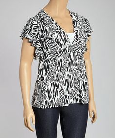 Another great find on #zulily! Black & White Geometric Angel-Sleeve Top - Plus #zulilyfinds