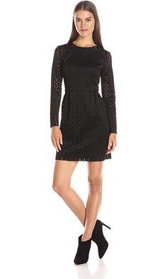 Trina Trina Turk Women's Abilene Perforated Geo Scuba Long Sleeve Dress, Black, 0 Best Price