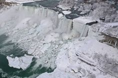 Niagara Falls partially freezes as deadly polar vortex hits the Northeast after blasting the Midwest with record-breaking temperatures and leaving at least 21 dead Niagara Falls Frozen, Visiting Niagara Falls, Arctic Blast, Winter Wonderland, North America, Around The Worlds, The Incredibles, Nature, Travel