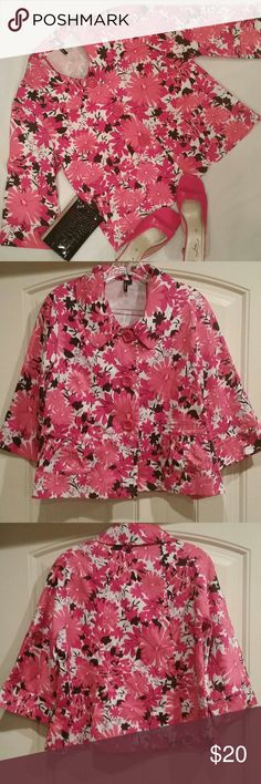 Ambition Spring/Summer Floral Jacket Size L A super cute Ambition jacket in excellent preowned condition. Pink, white, and black floral fabric makes this jacket perfect for Spring and Summer. 3 big pink buttons down the front. 2 front pockets. Back flap. 3/4 length sleeves. Made in China.  Cotton/Spandex blend (97/3). Size L. Ambition Jackets & Coats