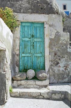 turquoise grey door