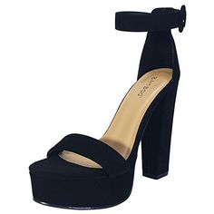 BAMBOO Womens Chunky Heel Platform Sandal With Ankle Strap *** Be sure to check out this awesome product. (This is an Amazon affiliate link)