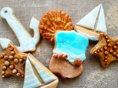 Sea-themed Cookie Set - Close-up by Veredcakes