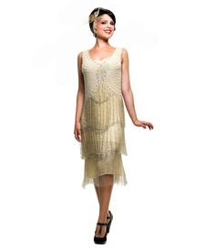 Ivory & Silver Beaded Fringe Reproduction Flapper Dress - Unique Vintage - Prom dresses, retro dresses, retro swimsuits.
