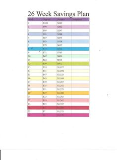 Gutsy image with 26 week savings plan printable