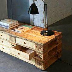 mesa tv con cajones, de paletss #palets #pallets #palletfurniture #palletwood