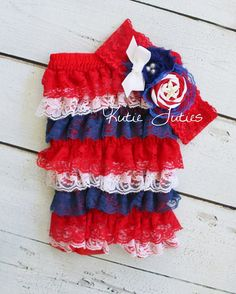 The Red White & Blue Romper and Headband 4th of by KutieTuties Memorial Day, Patriotic, Baby Girl, Infant, Toddler, Newborn, Photo Prop