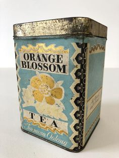 Vintage Formosa Oolong Orange Blossom Tea Tin Half Pound Lb Millbrook Products Co Somerville, Massachusetts Mass MA Light Blue Gold Vintage Kitchenware, Vintage Tins, Tea Labels, Orange Tea, Vintage Packaging, Tin Containers, Tea Tins, Tea Box, My Cup Of Tea