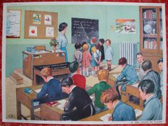 Vintage French school poster Double sided 1950's par lojaVintage, €72,65