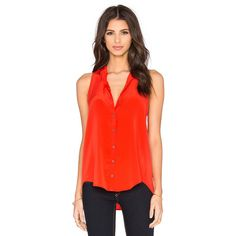 Bella Luxx Pleat Back Button Up Tank ($138) ❤ liked on Polyvore featuring tops, bella luxx, red tank top, button down tank, button down tank top and button up tank