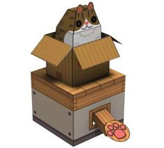 Thanks to Luciano Almeida, from Rio de Janeiro, for this cool find! This is the Internet Box Cat Paper Toy: put a coin on the lever and ...