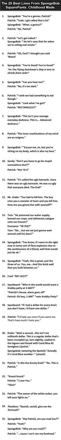 The Best Lines From Spongebob Squarepants. http://ibeebz.com