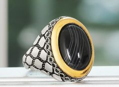 MEN's Ring Sterling Silver 925 K with Agate Black Size 9 US Handmade $42.48