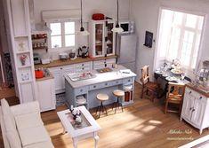 Miniature Kitchen ♡ ♡ By Nishi Mikako Miniature Dollhouse Furniture, Miniature Rooms, Miniature Kitchen, Miniature Houses, Diy Dollhouse, Dollhouse Miniatures, Crea Fimo, Mini Kitchen, Kitchen Photos