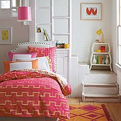 Delightful Pink And Orange For A Girls Bedroom Driven By Decor Or 39 Brown. Hot Pink Bedding, Cute Bedding, Teen Bedding, Pink Comforter, Girls Room Design, Bed Design, Home Design, Driven By Decor, Stylish Beds