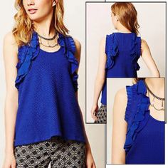 Anthropologie ruffled blue tank Super chic ruffled tank in gorgeous blue color by deletta at Anthropologie. Great condition! No trades. Open to offers. Anthropologie Tops