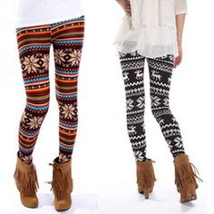 Women Retro Knitted Warm Tights Snowflakes Winter Leggings Soft Pants Thin/Thick