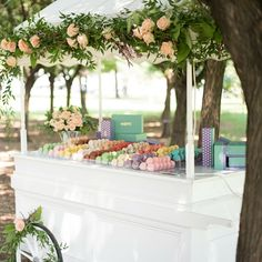 Enchanting macaron cart available for weddings and other special events.