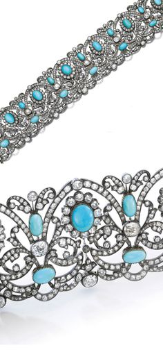 Turquoise and diamond choker, late 19th century. Designed with scroll, foliate and floral motifs, set with turquoise cabochons and cushion-shaped, circular-, single-cut and rose diamonds, length approximately 310mm.