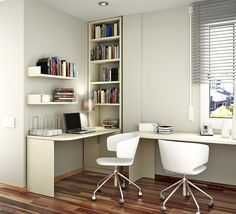 Both of our Ikea desks could fit in new living space if arranged like this.